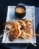 Grilled skewered prawns (Indonesia)