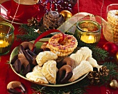 Plate of assorted Christmas biscuits