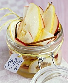 Apple and pear compote in a preserving jar