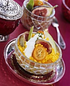 Sweet saffron rice with fruit and honey yoghurt