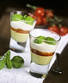 Ricotta mousse with pesto and peppers