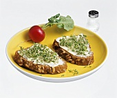 Sunflower bread with butter and cress
