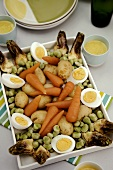 Vegetable platter with boiled eggs and aioli