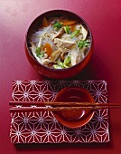 Shanghai market soup: glass noodles, chicken, mushrooms, vegetables