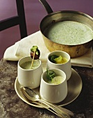 Soup with 3 types of brassicas (broccoli, cauliflower, Brussels sprouts)