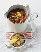 Goulash soup with mushrooms