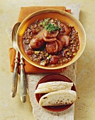 Lentil stew with salsicce