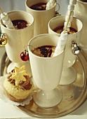 Hot chocolate with marshmallow sticks