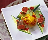 Cucumber and beef appetisers