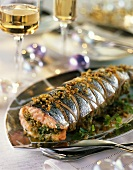 Salmon with almond stuffing for Christmas