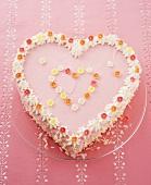 Pink heart-shaped cake