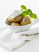 Potatoes cooked in their skins with herb quark & basil in bowl