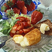 Strawberry relish with fried Camembert