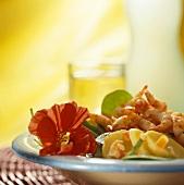 Shrimp and potato salad with coconut milk