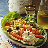 Bulgur wheat salad with vegetables, sheep's cheese & mint