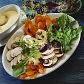 Salad platter with lemon and mustard dressing