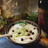 Tzatziki with garlic and olives