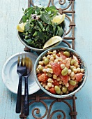 Chick-pea salad and green bean salad with mint (Morocco)