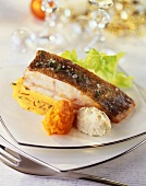 Turbot with artichoke and carrot puree on saffron sauce