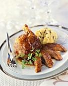 Roast goose with truffled mashed potato for Christmas