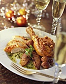 Roast capon with chestnuts, foie gras and coriander sauce