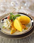 Mango sorbet with basil cream for Christmas