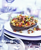 Aubergine with vegetable and mango stuffing