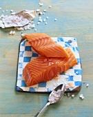 Norwegian salmon fillet with sea salt