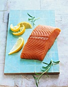 Wild salmon fillet with lemon and rosemary