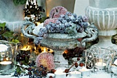 Winter decoration: sugared fruit in cast stone vase