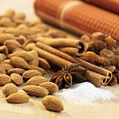Baking ingredients: almonds, vanilla sugar, star anise, cinnamon