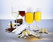 Beer, wine, ampoules and tablets