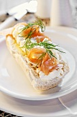 Cottage cheese and salmon on baguette