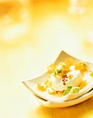 Fresh goat's cheese with flower salad
