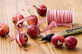 Ornamental apples with checked ribbon and gold pen