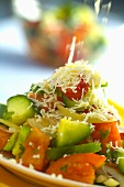 Shopska salata (Vegetable salad with sheep's cheese, Bulgaria)