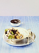 Thai curry with coconut, cherry chutney and rice