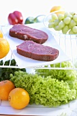 Beef steaks, salad and fruit in refrigerator