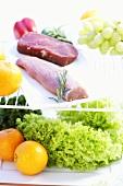 Pork fillet, beef steak, lettuce and fruit in refrigerator