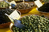 Pickled olives on a market stall in Provence