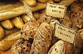 Various types of bread on a market stall in Provence