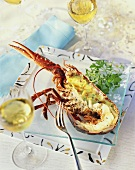 Spiny lobster with herb sauce and almonds