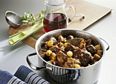 Beef ragout with pearl onions