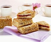 Breaded damson jam sandwiches