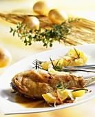 Rabbit leg with rosemary potatoes