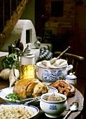 Bavarian cuisine (cabbage salad, liver dumpling soup, white sausage)