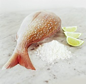 Red snapper with sea salt and lime wedges