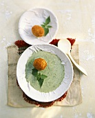 Nettle soup with breaded eggs
