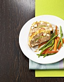 Meatloaf with potato crust and vegetables