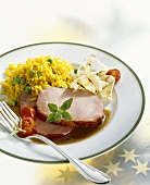Asian-style cured, smoked pork with turmeric rice & fennel